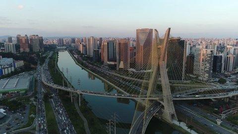 Otavio Frias de Oliveira Bridge - Sao Paulo - Brazil - Aerial View