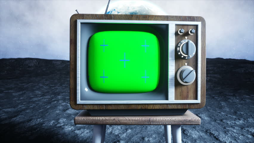 Old wooden vintage TV on the moon. Earth background. Space concept. Broadcast. Green screen tracking footage. | Shutterstock HD Video #32221837