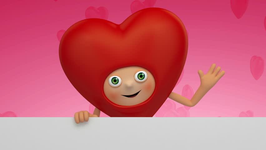 Valentine Day Greeting Heart Cartoon Stock Footage Video 100