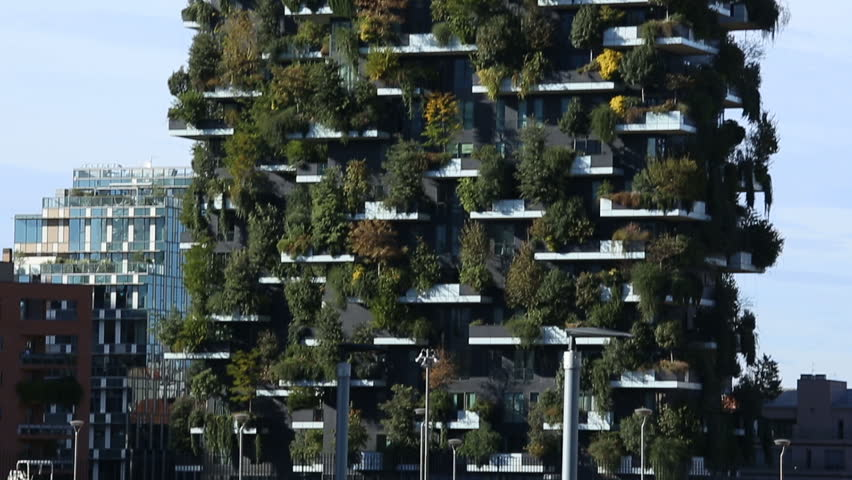 MILAN, ITALY - OCTOBER 2017; Bosco Verticale (Vertical Forest), residential towers in Porta Nuova district.