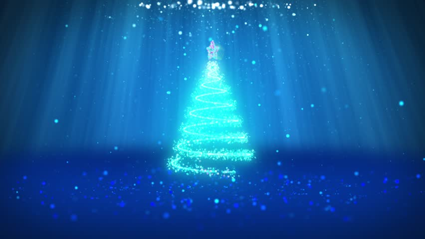 of winter theme for christmas or new year background with copy space xmas tree from particles in mid frame blue 3d xmas tree v1 with glitter particles
