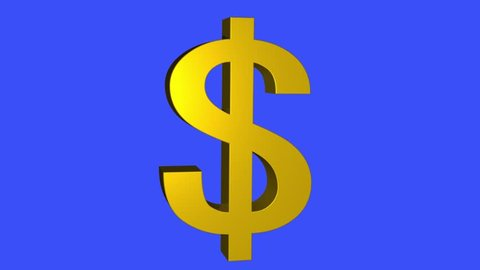soft gold Dollar sign spinning animation seamless loop on blue background - new quality unique financial business animated dynamic motion video footage