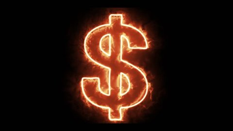 flame Dollar sign appear and burn loop animation background - new quality unique financial business dynamic motion video footage