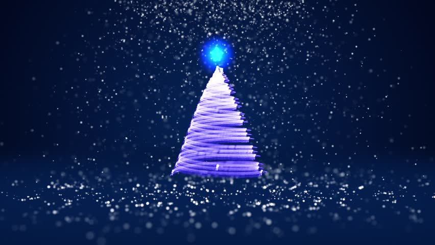 winter theme for christmas or new year background with copy space xmas tree from glow shiny particles in mid frame blue 3d xmas tree v9 with snow dof