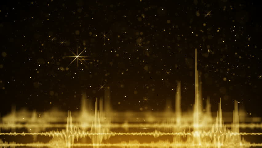 Audio waveform and golden falling sparkles. Computer generated seamless loop holiday animation 4k (4096x2304)