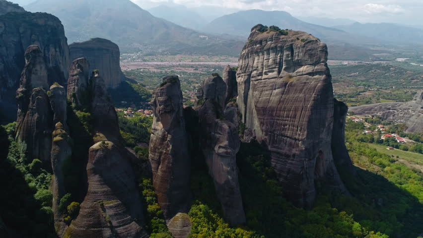 Aerial shot of Meteora, a rock formation in central Greece hosting one of the largest  complexes of Eastern Orthodox monasteries