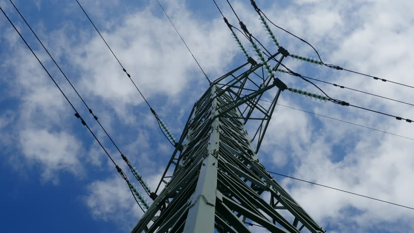Time lapse of power pole from electric transmission network with blue sky and clouds. | Shutterstock HD Video #32320669