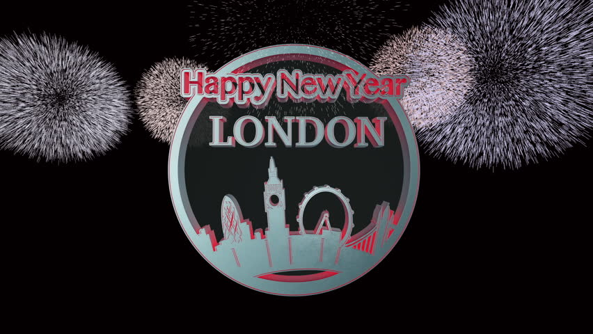 Happy New Year London 3D circle animation. Fireworks at end. HD 1080p. Camera Pan then zoom out.