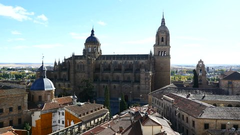 Views of the Cathedral of Salamanca from the Tower of the Clergy of Salamanca, Castilla y Leon, Spain. Filmed in November 2017.