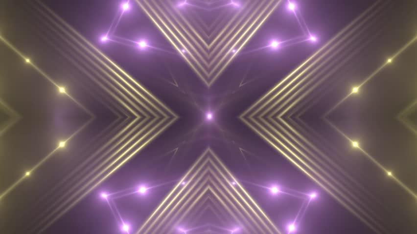 VJ Fractal violet kaleidoscopic background. Background gold motion with fractal design on black background. Disco spectrum lights concert spot bulb. Light Tunnel. Seamless loop.