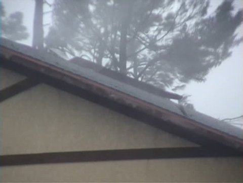 A roof getting torn apart during a hurricane.