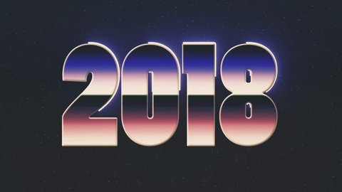 shiny retro 80s style lazer 2018 new year text word fly in and out on stars animation background -new unique vintage beautiful dynamic joyful colorful video footage
