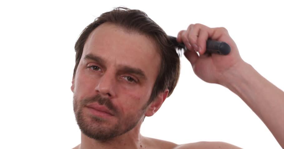 Mature Naked Man Brushing His Hair with Hairbrush Nude Male Hairdressing Work
