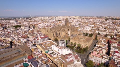 Aerial view of Seville cityscape including the cathedral and Torre del Oro in Sevilla, Andalusia, Spain.