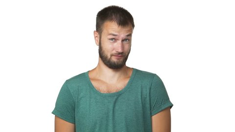 headshot portrait of adult bearded man being skeptical smiling about something gesturing it's nonsense and ridiculous isolated white background closeup slow motion. Concept of emotions
