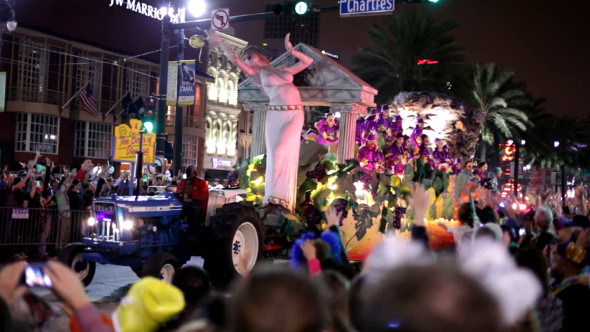 New Orleans, LA - FEBRUARY 18: Bride of Dionysus float in Mardi Gras parade on Saturday February 18, 2012 in New Orleans, Louisiana.