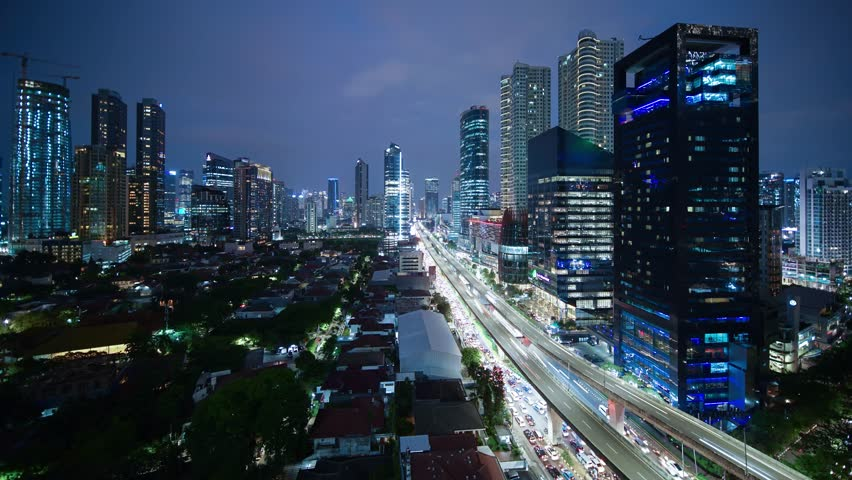 JAKARTA, Indonesia. October 30, 2017: Timelapse footage of Jakarta cityscape at Kuningan central business district. Shot in 4k resolution
