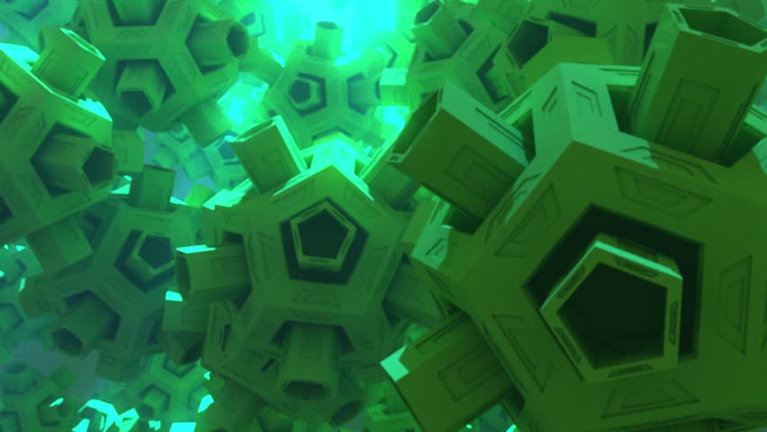 Computer generated dodecahedrons active the screen in this seamlessly looping animated background.