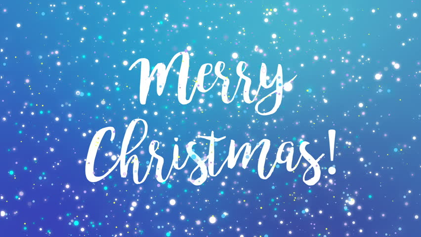 Sparkly Merry Christmas greeting card video animation with falling snowflakes and colorful glitter particles flickering on blue background.