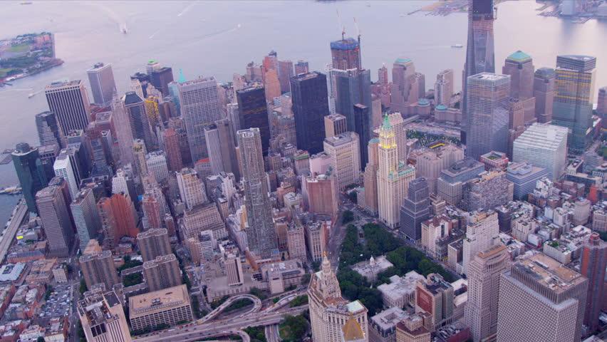 Aerial city skyscraper view Downtown Manhattan Financial district, 1 WTC, Hudson river, USA | Shutterstock HD Video #3244039