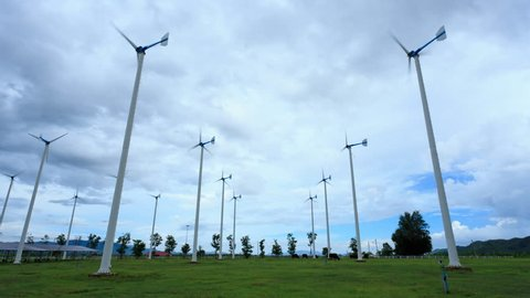 Wind turbines in field, time lapse video