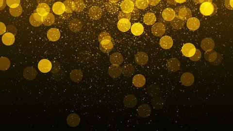 Golden lights background with particles. Gold sparks. Seamless loop texture