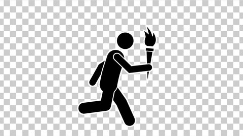 Black Stick Figure Run With Olympic Torch with Alpha Matte