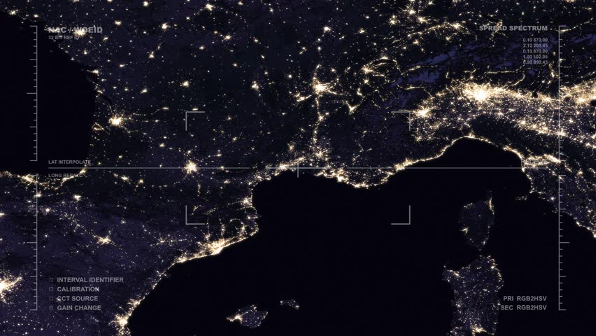 Night cities from the satellite europe nasa photo hd 1080 videos nighttime aerial surveillance flyover of the western mediterranean region reversible seamless loop elements gumiabroncs Images