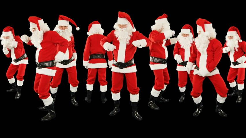 Bunch of Santa Claus Dancing, Merry Christmas ribbon   Shutterstock HD Video #32490739