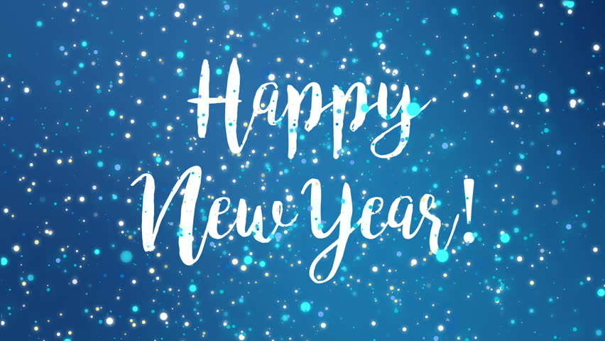 Sparkly Happy New Year greeting card video animation with falling snowflakes and colorful glitter particles flickering on blue background.