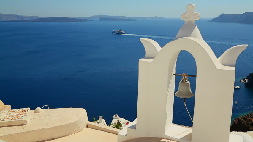 SANTORINI, GREECE 2012 Gorgeous churches ,walkways and buildings grace the island of Santorini in the Greek Islands.