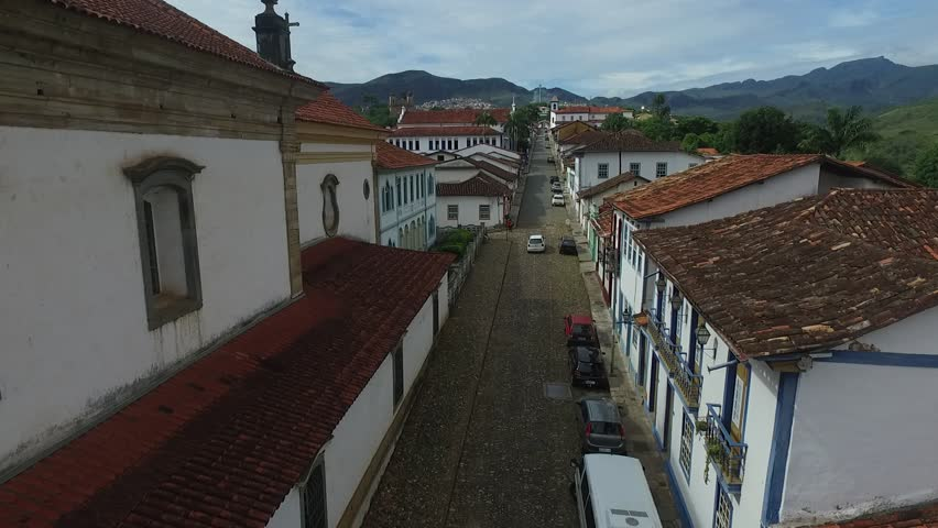 aerial view of the city of Mariana in minas gerais, images made with drone.