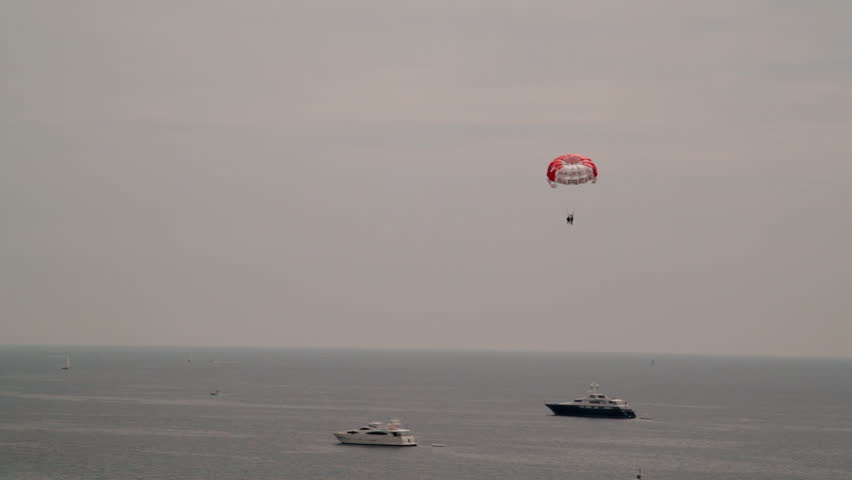 Para-sailing over the sea in front of Cannes