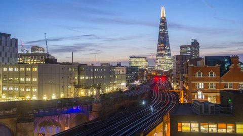 UK, England, London, Southwark and railway lines into London Bridge Station, TIME LAPSE, Night to day