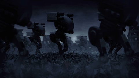 army of military robots are walking through the ruins