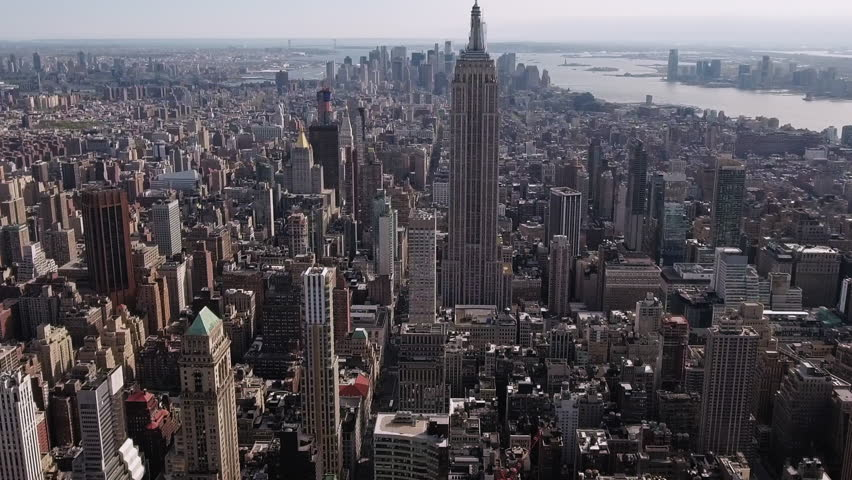 NYC, NY / USA - 06 20 2017: New York City, Midtown, Slow Zoom Backwards Shot Of Empire State Viewing Downtown, Mercantile Building, South Hudson River | Shutterstock HD Video #32624119
