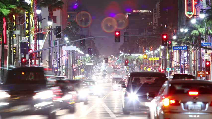LOS ANGELES - MAY 25: Timelapse of Hollywood boulevard traffic at night, on May 25, 2012 in LOS ANGELES