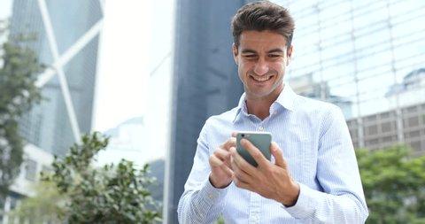 Man send sms on cellphone