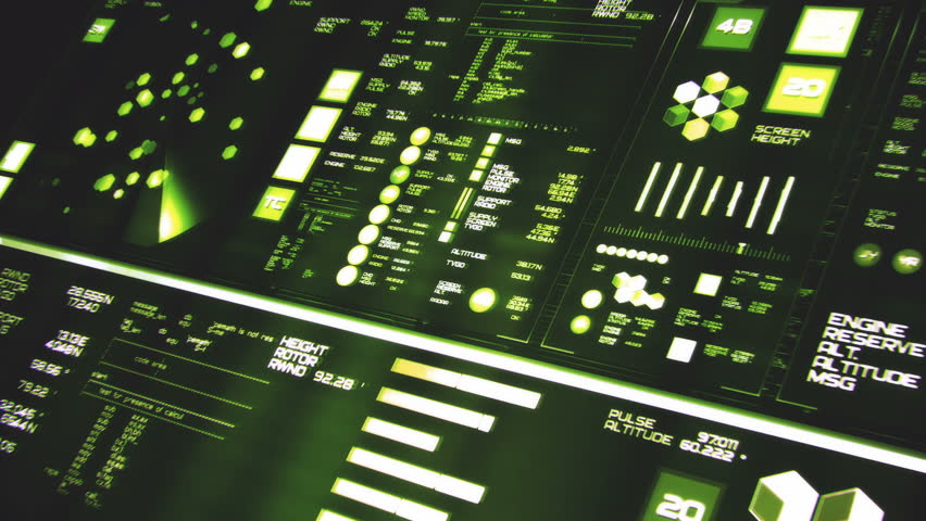 Perspective view of deep green futuristic interface/Digital screen/Detailed abstract background. Blinking and switching indicators of command center computer,processing data, AI. #32659189
