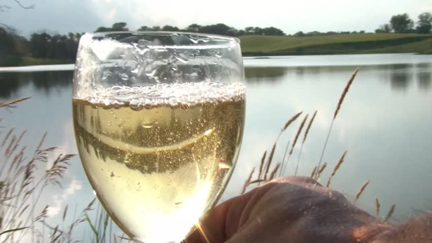 Glass of white wine is being poured by the lake with the sunlight reflecting off of water and into glass.