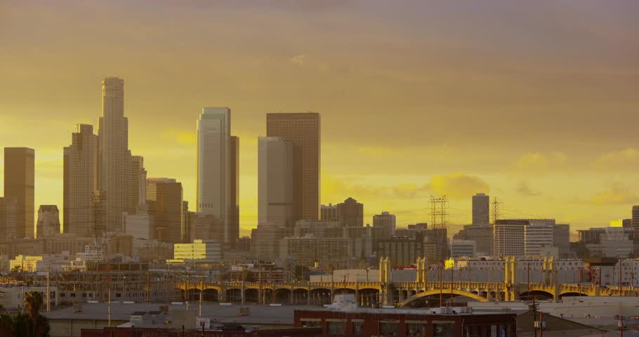 DTLA skyline view at sunset from East LA sixth street bridge, Los Angeles, California | Shutterstock HD Video #32687962