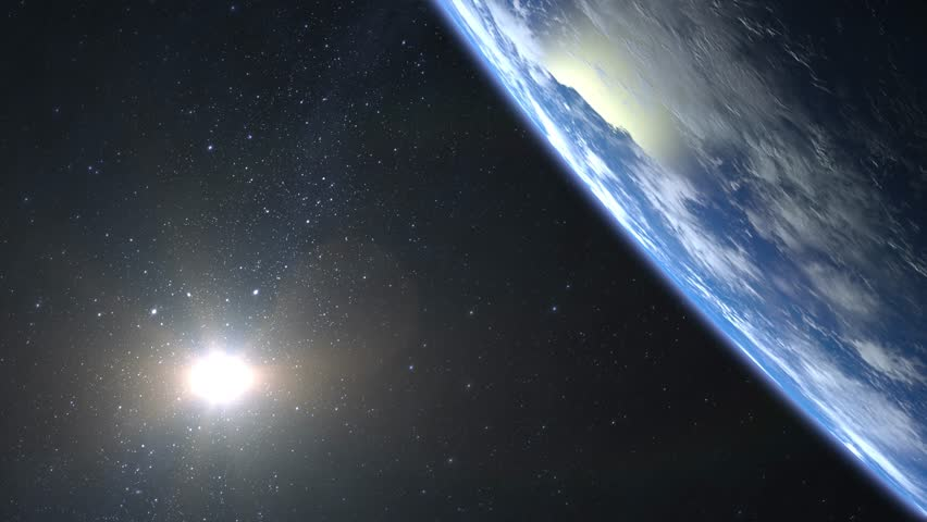 Beautiful View of Earth from space. Sunrise. Flight under the Earth. 4K. The camera moves forward. The sun is in the frame. 3D Animation.   Shutterstock HD Video #32691649
