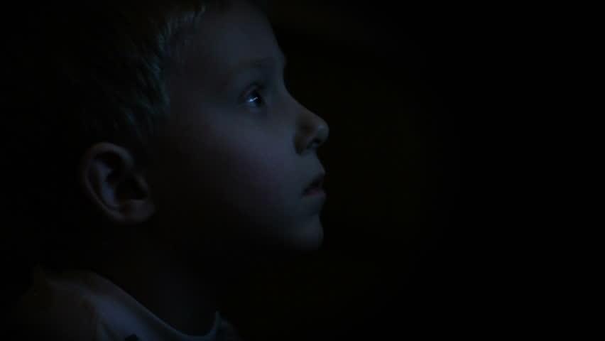 Little boy watching TV in the Dark #3271685