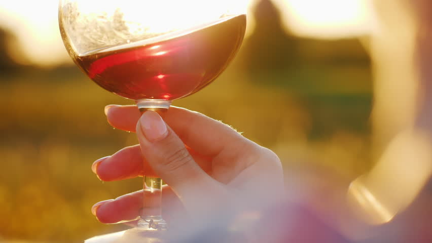 A woman is holding a glass of red wine at sunset. Against the background of the vineyard. Tourists are tasting the wine concept