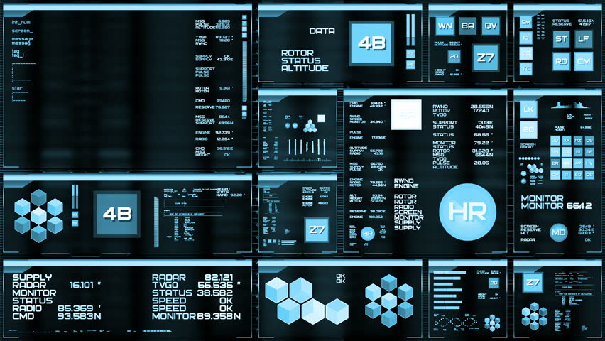 Light blue futuristic interface/Digital screen/Detailed abstract background. Blinking and switching indicators of command center computer,processing data, AI. | Shutterstock HD Video #32728069