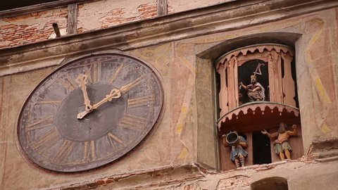 The main clock of Sighisoara, with figurines, the only inhabited citadel in the world