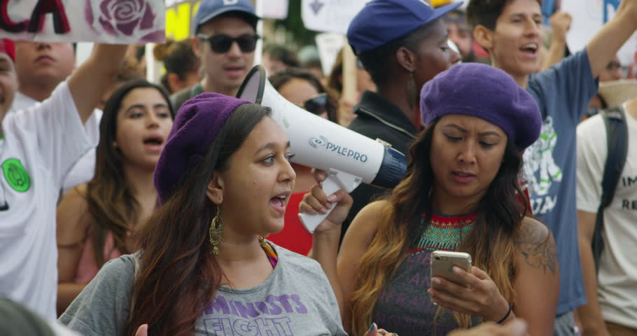 August, 2017 Los Angeles, USA:Slow motion of DACA supporters at the march from Echo Park Lake to Olvera in downtown Los Angeles, California.