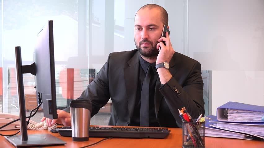 Stressful job stressed formal wear manager freelancer banker on phone headache | Shutterstock HD Video #32759989