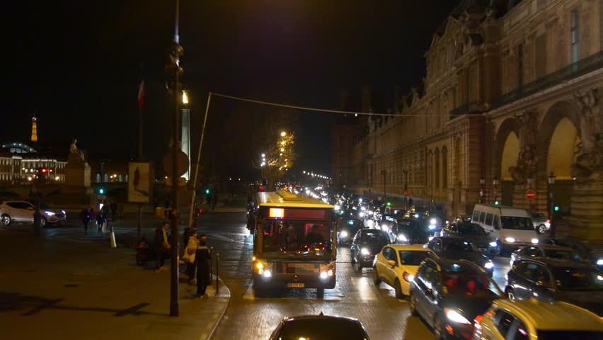 Night time illumination paris double-decker bus ride traffic street panorama 4k france | Shutterstock HD Video #32763499