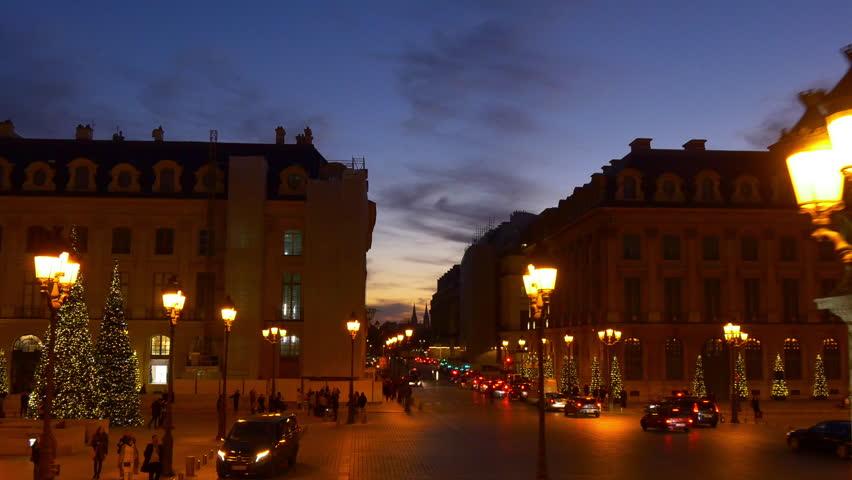 Sunset time illumination paris double-decker bus ride street panorama 4k france | Shutterstock HD Video #32763565